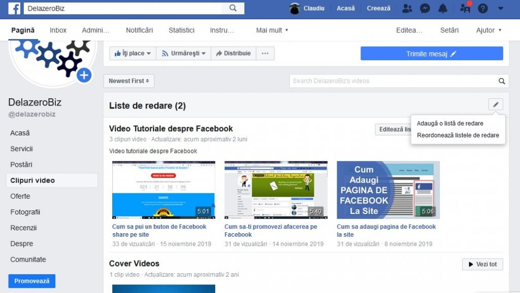Listele de redare video in Facebook